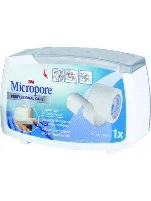 Sparadrap microporeux hypoallergénique 3M™ Micropore™* - Le dévidoir blanc hermétique, dim. 9,14 m x 2,5 cm.