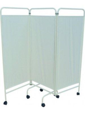 Paravents sur roulettes - Le paravent 3 panneaux rideau PVC blanc.